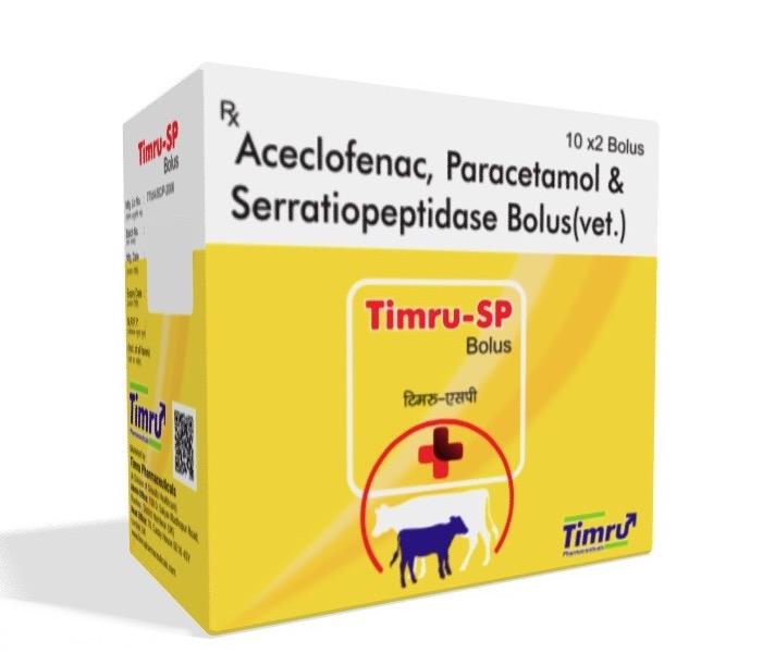 Veterinary Aceclofenac, Paracetamol & Serratiopeptidase Bolus